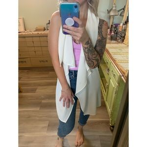 Small, SWS, cream white waterfall belted vest